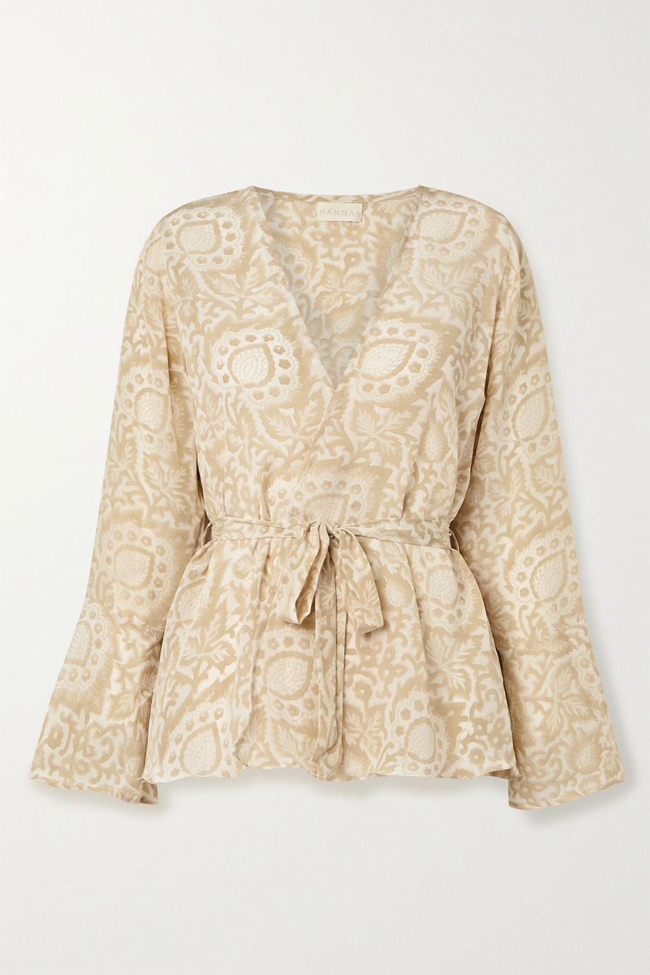 Hannah Artwear Capri floral-print silk crepe de chine wrap top