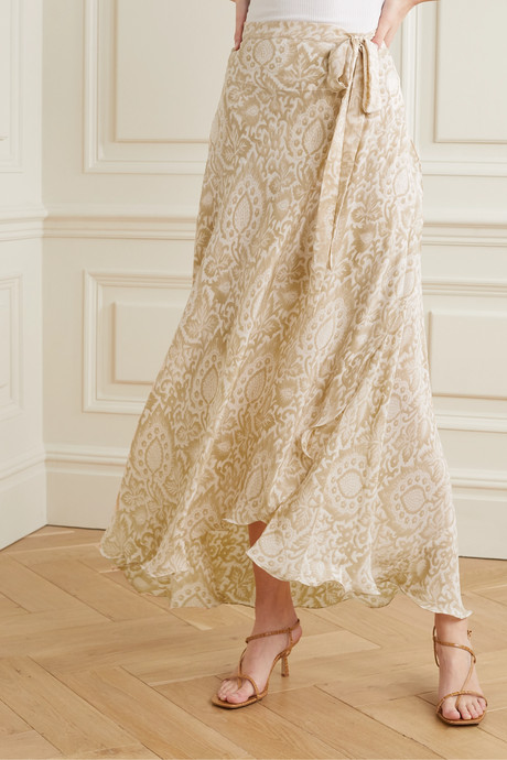 Capri floral-print silk crepe de chine wrap skirt