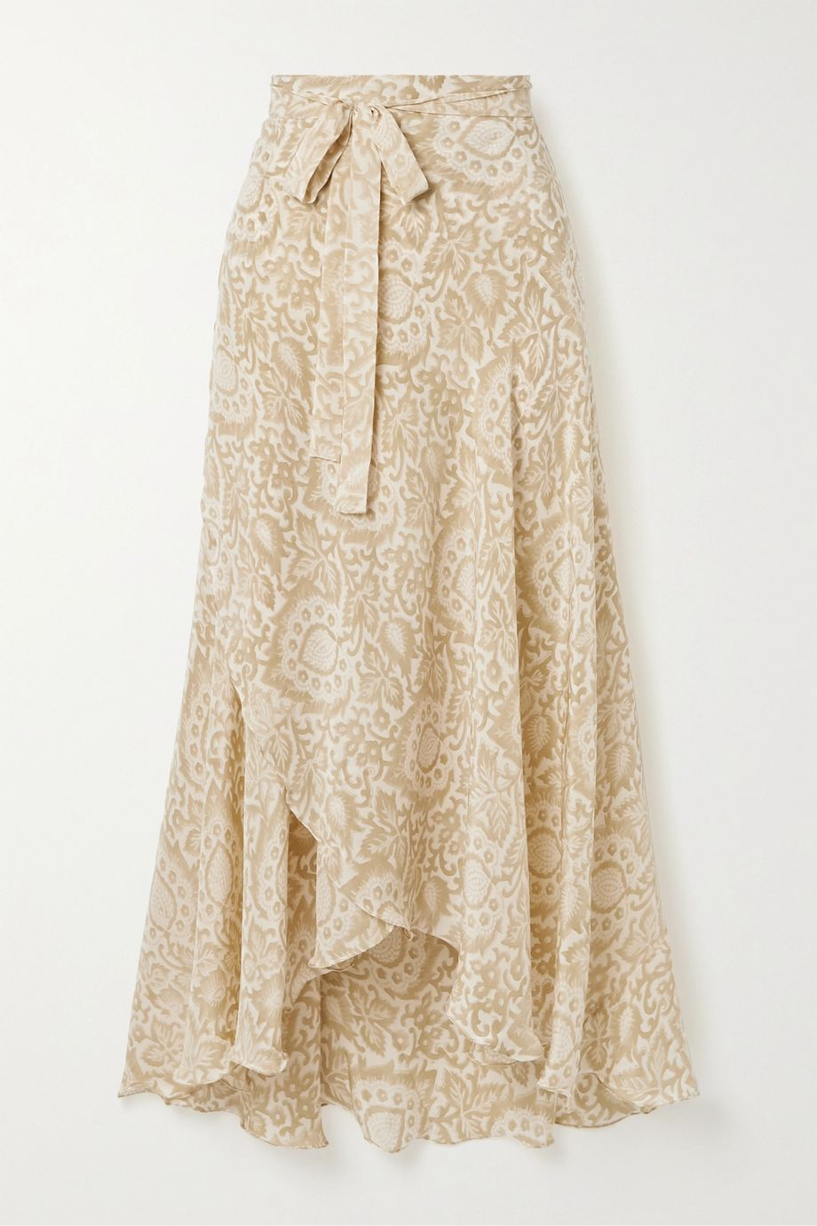 Hannah Artwear Capri floral-print silk crepe de chine wrap skirt
