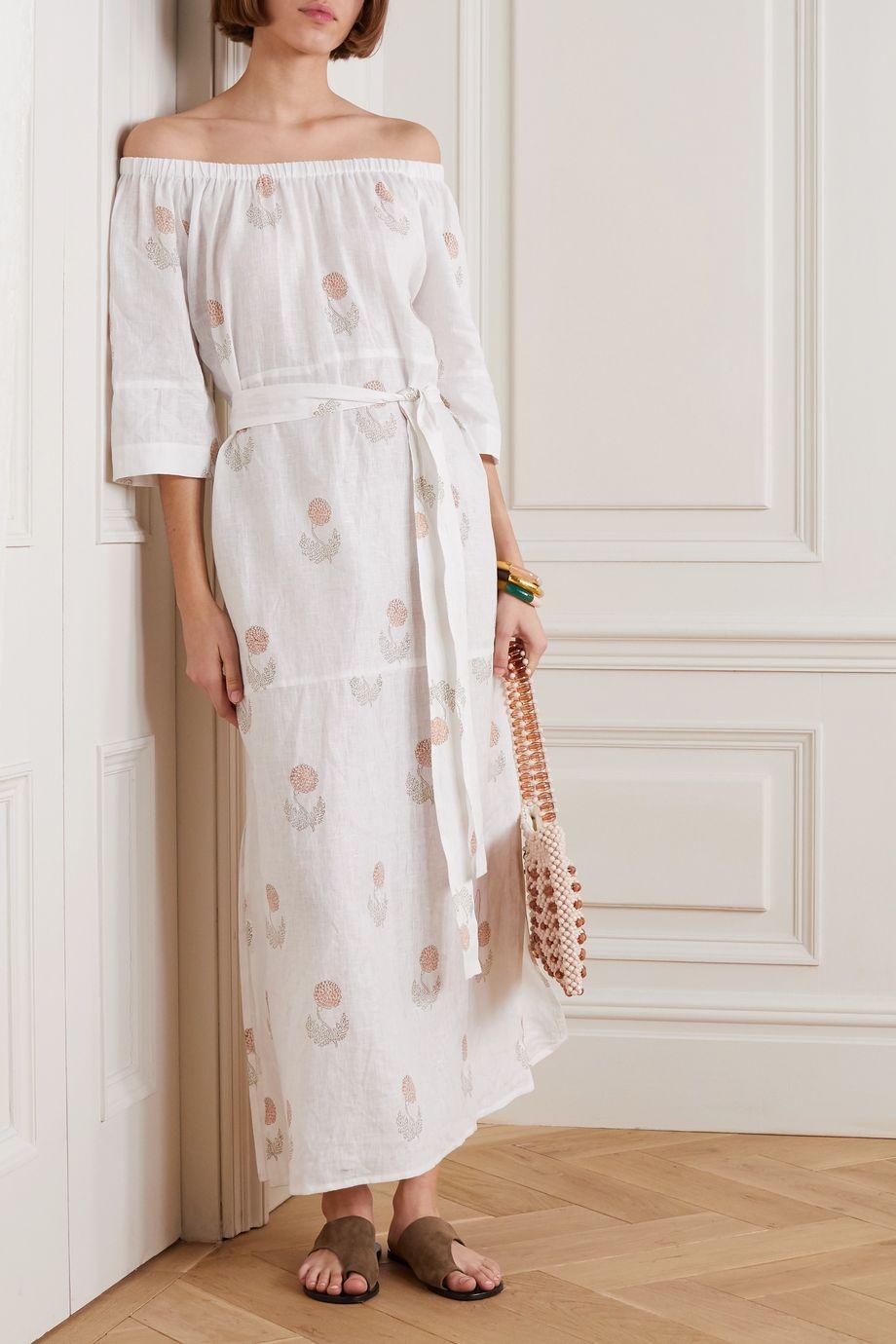 Hannah Artwear Elba off-the-shoulder belted floral-print linen maxi dress