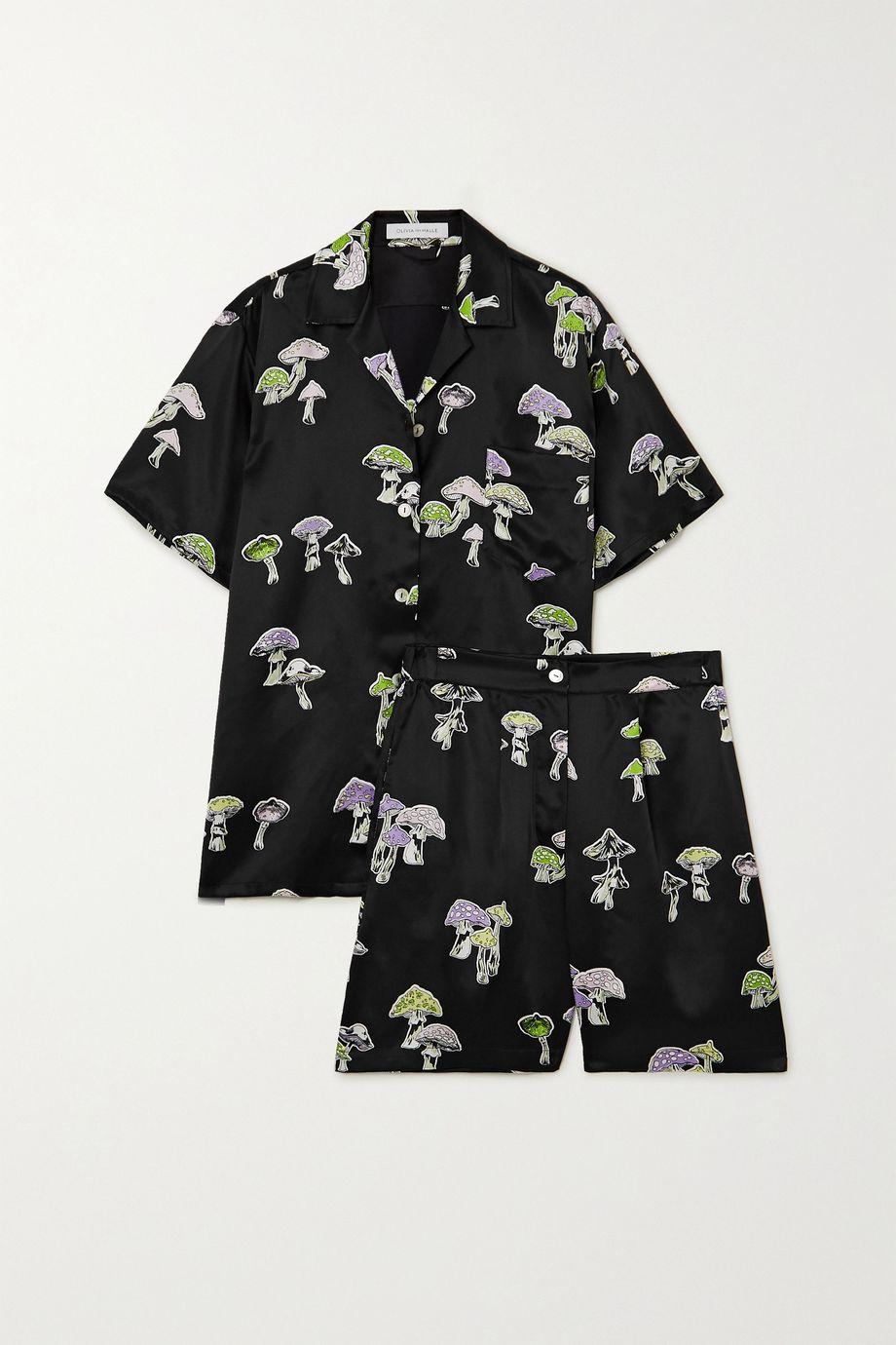 Olivia von Halle Emeli printed silk-satin pajama set