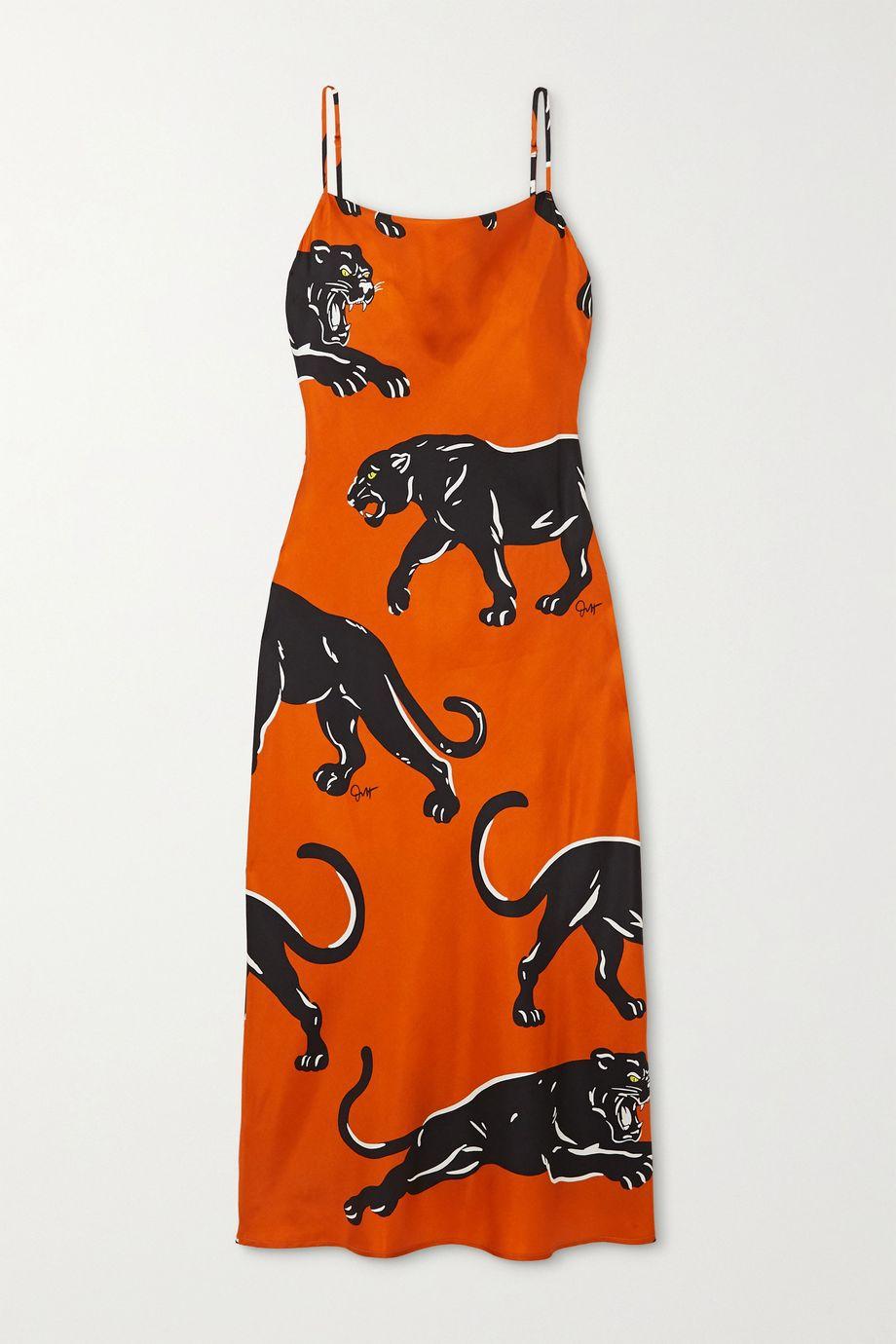 Olivia von Halle Bibi printed silk-satin maxi dress
