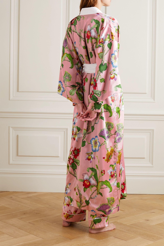 Olivia von Halle Queenie floral-print silk-satin robe
