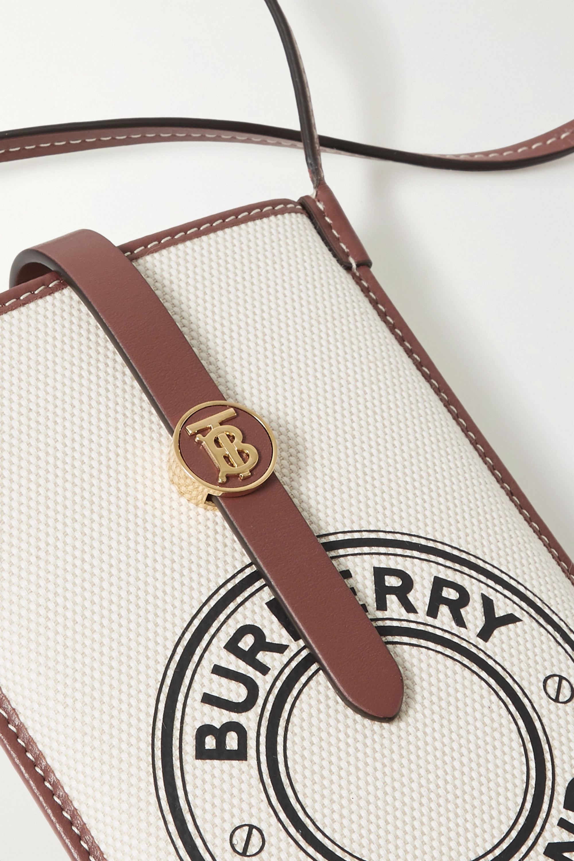 Burberry Leather-trimmed printed canvas phone case