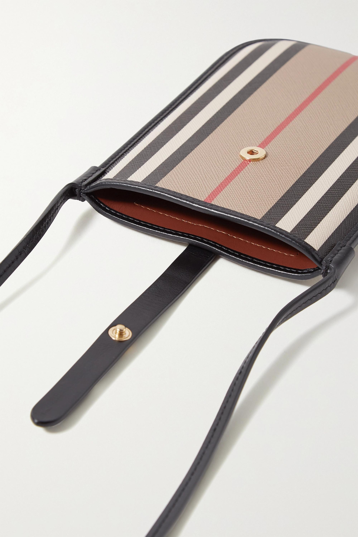 Burberry Striped leather-trimmed coated-canvas shoulder bag