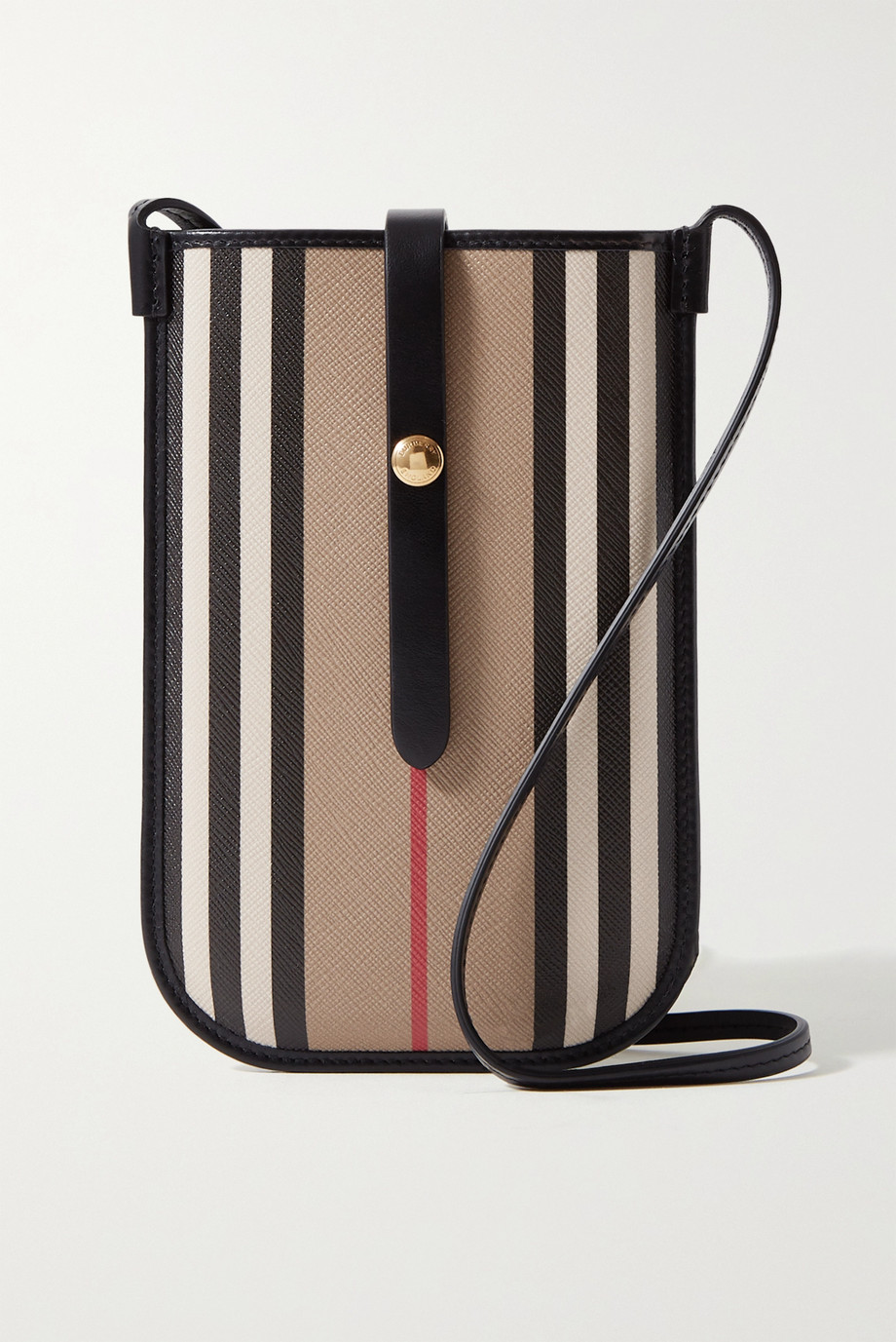 Burberry Striped leather-trimmed coated-canvas shoulder bag