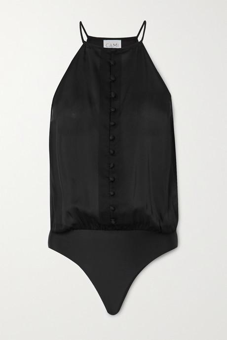 Black The Trina silk-chiffon thong bodysuit    Cami NYC 0XHRBt