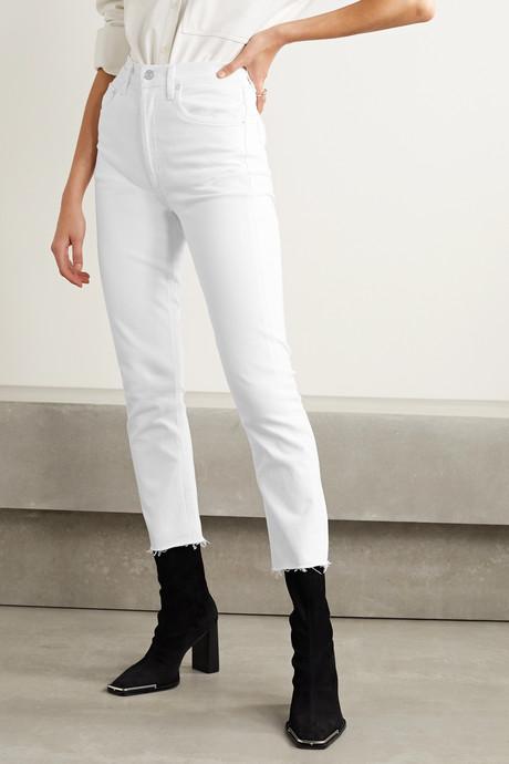 Riley frayed high-rise straight-leg jeans