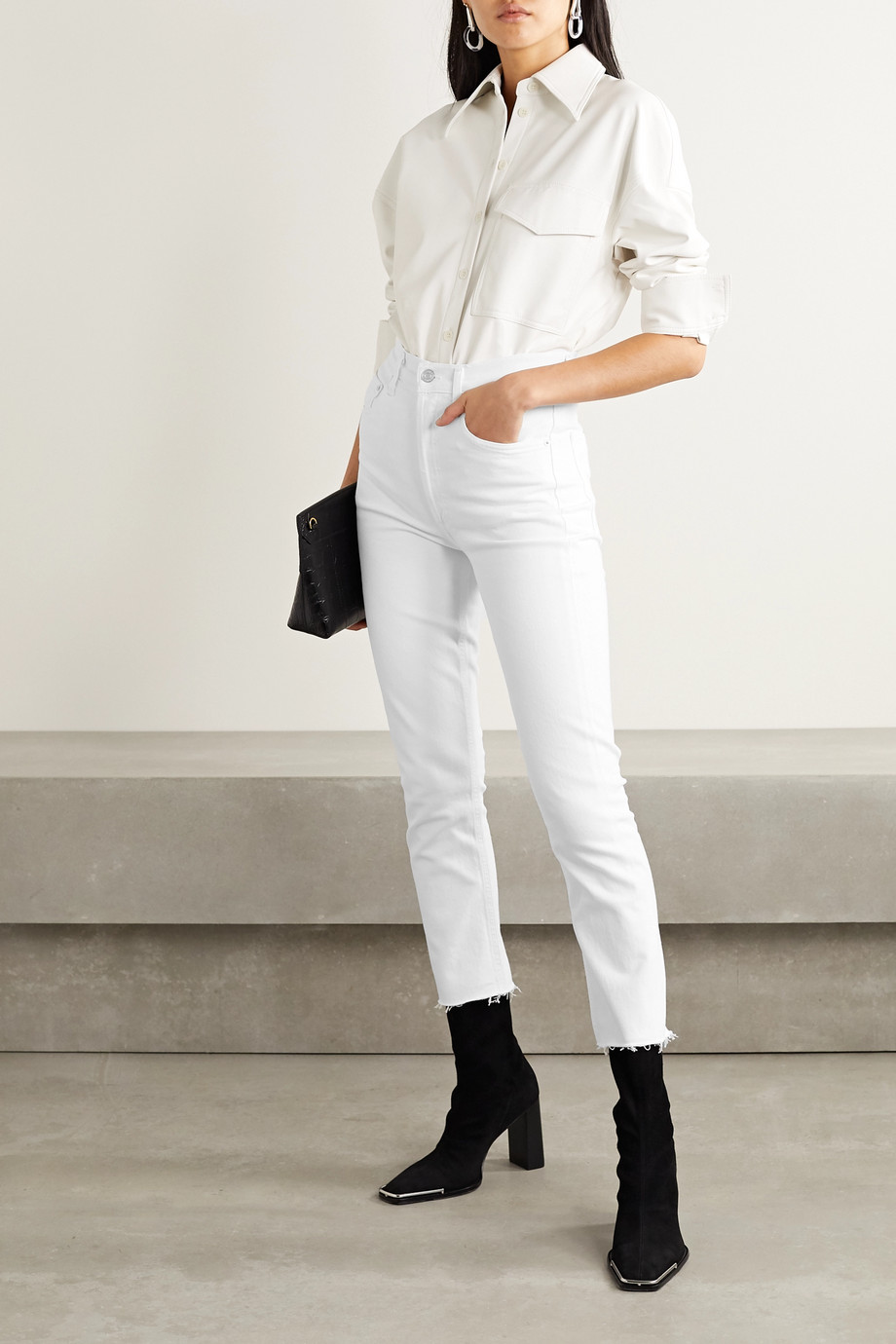 AGOLDE Riley frayed high-rise straight-leg jeans