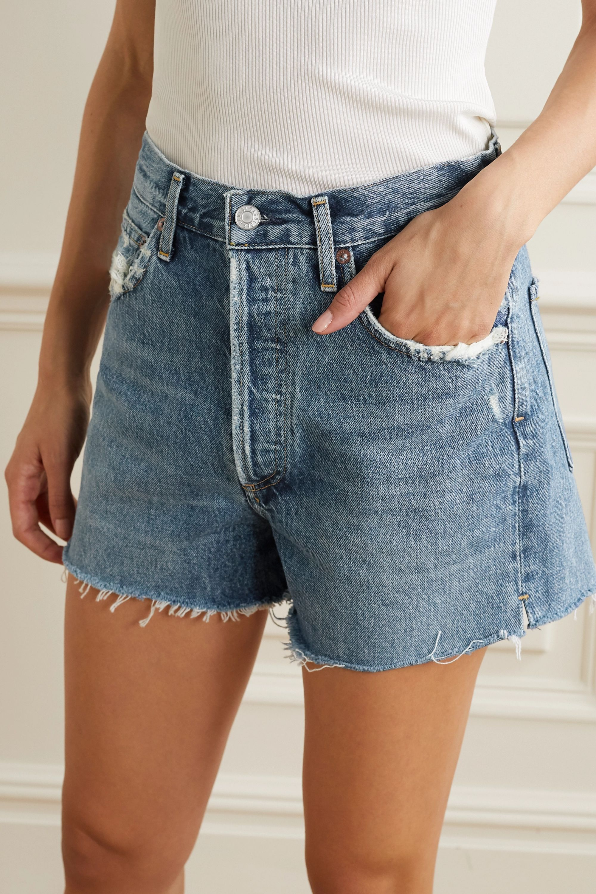 AGOLDE Dee distressed denim shorts