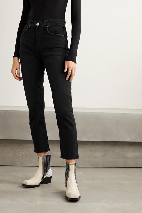 Riley high-rise straight-leg jeans