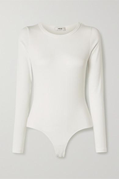 AGOLDE - Leila 罗纹弹力超细莫代尔苏比马棉混纺连体紧身衣 - 白色 - x small