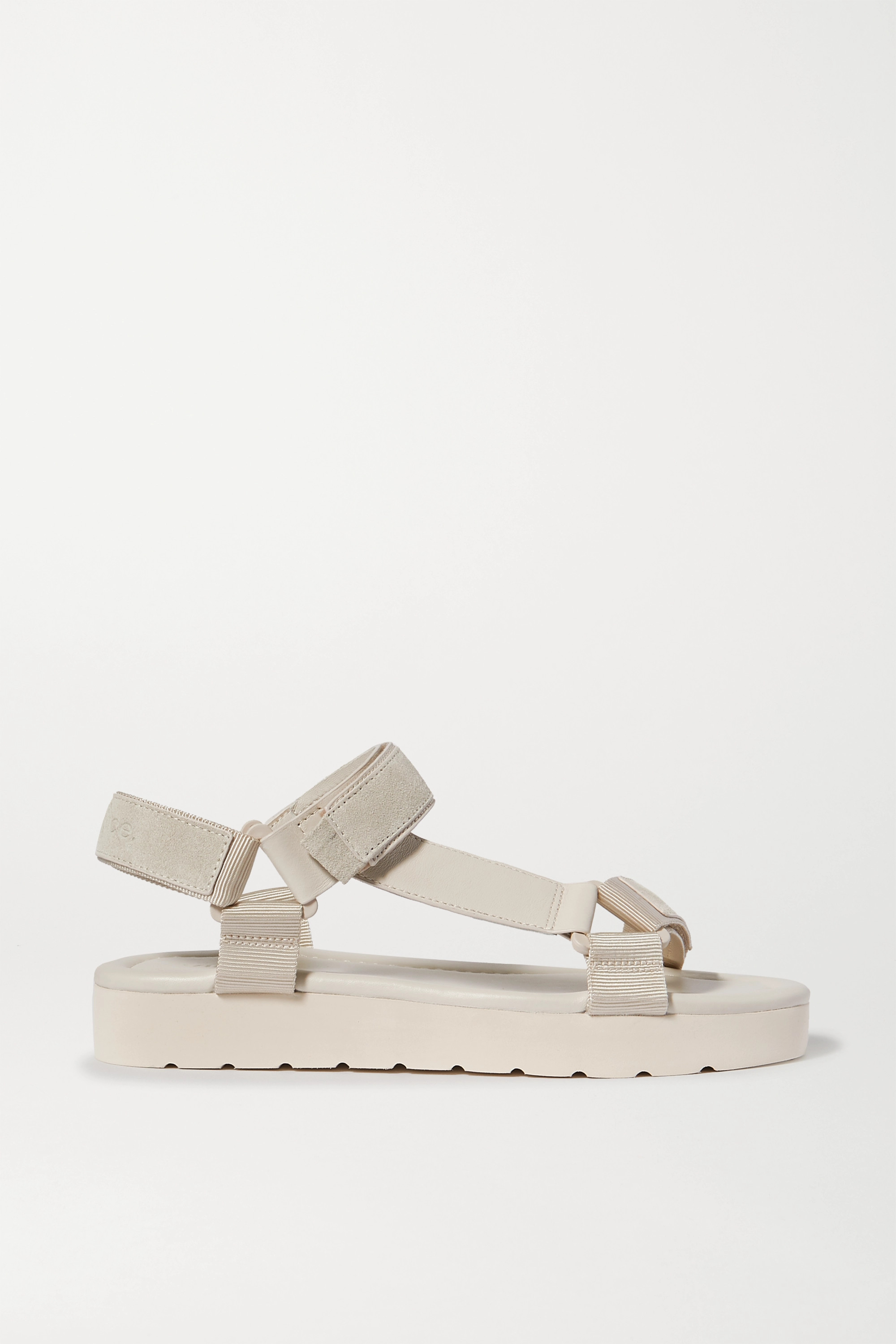 Vince Carver leather, suede and canvas platform sandals