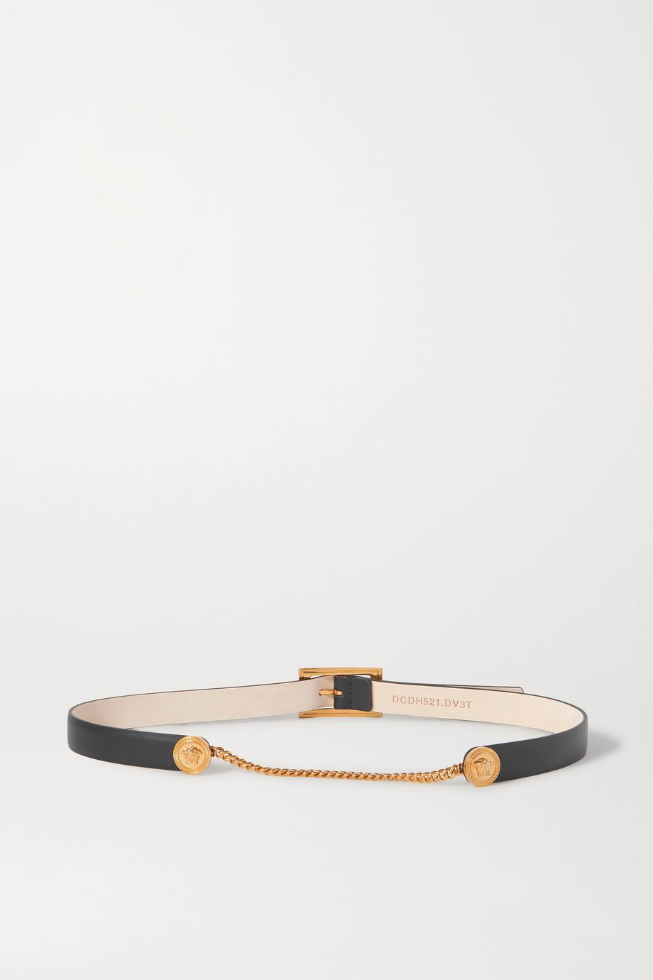 Versace Chain-embellished leather waist belt