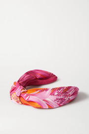 Versace Knotted printed georgette headband