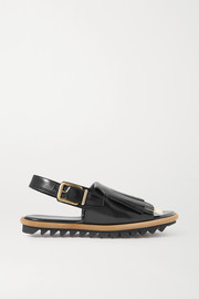 Dries Van Noten Fringed leather slingback sandals
