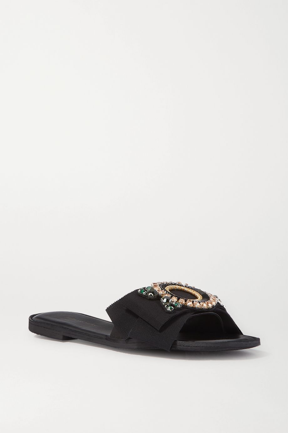 Dries Van Noten Embellished grosgrain and leather slides