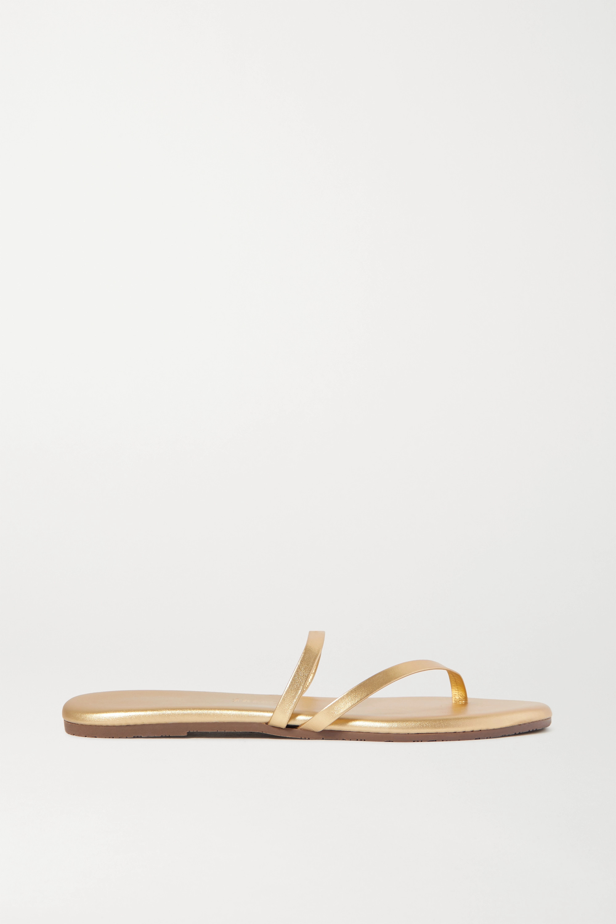 TKEES Sarit metallic leather sandals