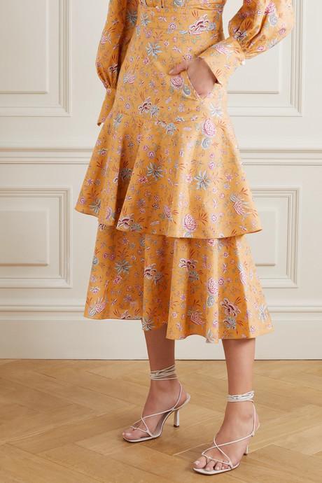 Carmen tiered floral-print cotton-poplin midi skirt
