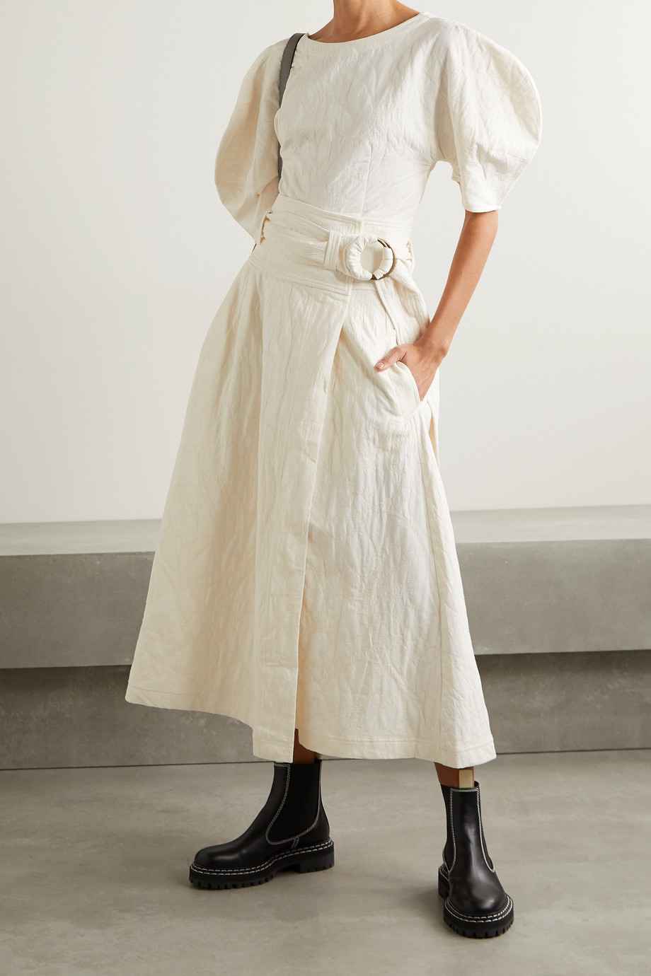 Mara Hoffman 【NET SUSTAIN】Esperanza 配腰带有机棉麻混纺提花中长围裹式半身裙
