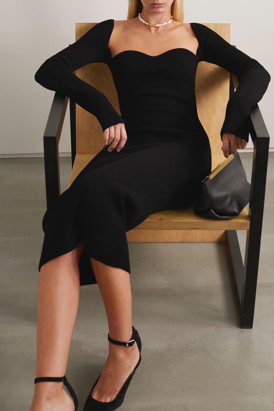 Khaite Beth ribbed-knit midi dress