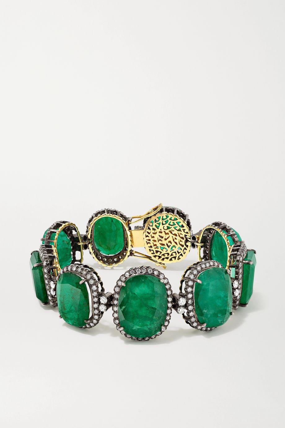 Amrapali Armband aus 18 Karat Gold mit Auflage aus Sterlingsilber, Smaragden und Diamanten