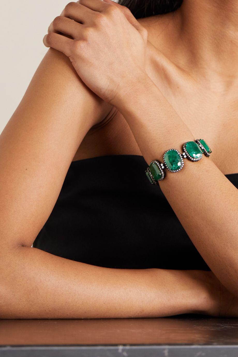Amrapali Bracelet en plaqué argent sterling, or 18 carats, émeraudes et diamants