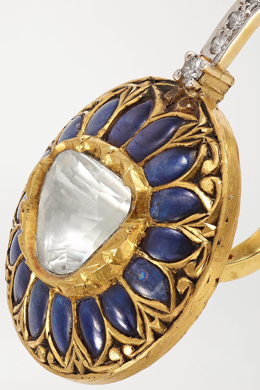 Amrapali Ohrringe aus 18 Karat Gold und Sterlingsilber mit mehreren Steinen