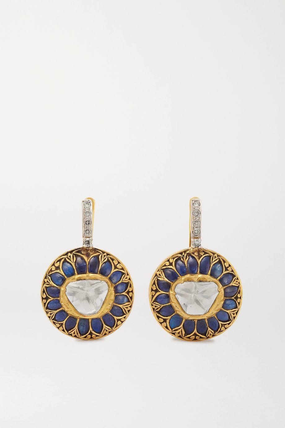 Amrapali 18-karat gold and sterling silver multi-stone earrings