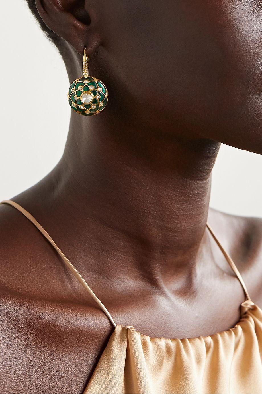 Amrapali 18-karat gold multi-stone earrings