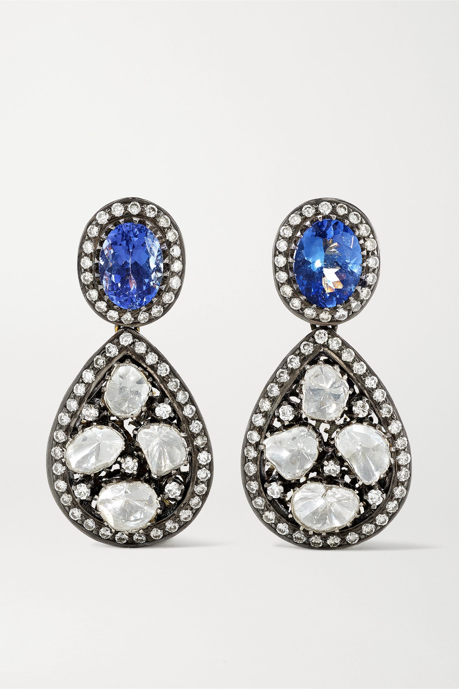Amrapali Sterling silver-plated 18-karat gold, tanzanite and diamond earrings