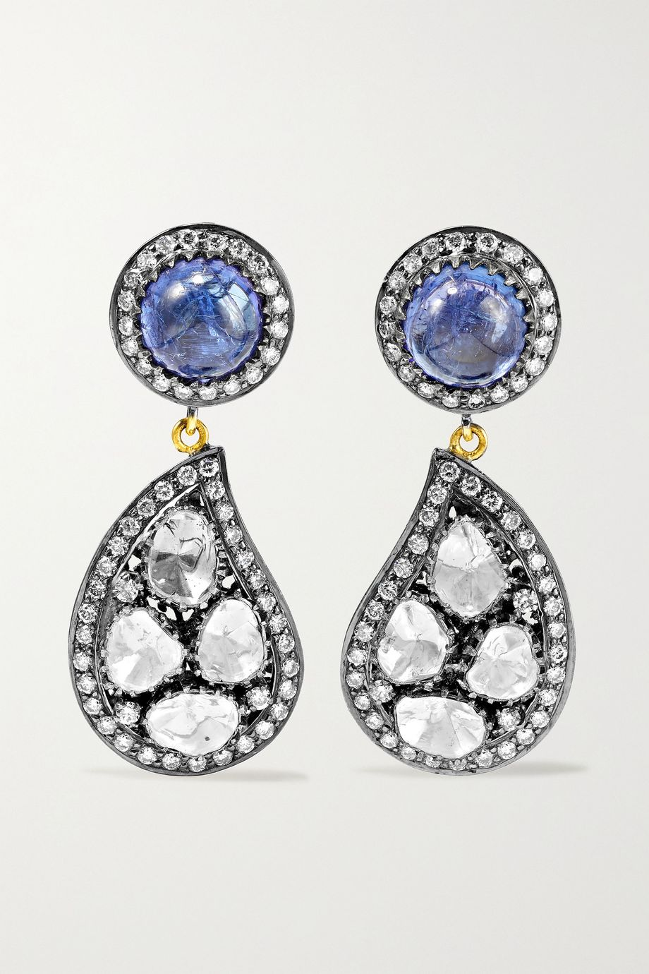 Amrapali Sterling silver-plated 18-karat gold, tanzanite and diamond earrings