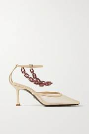 Paciotti Crystal-embellished leather-trimmed mesh pumps