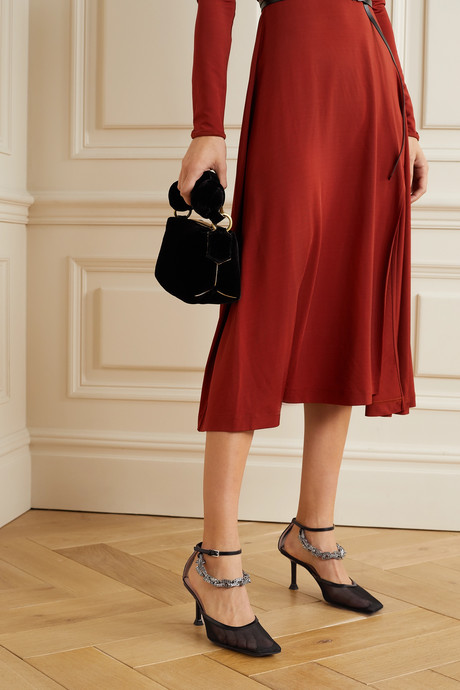Chain-embellished leather-trimmed mesh pumps