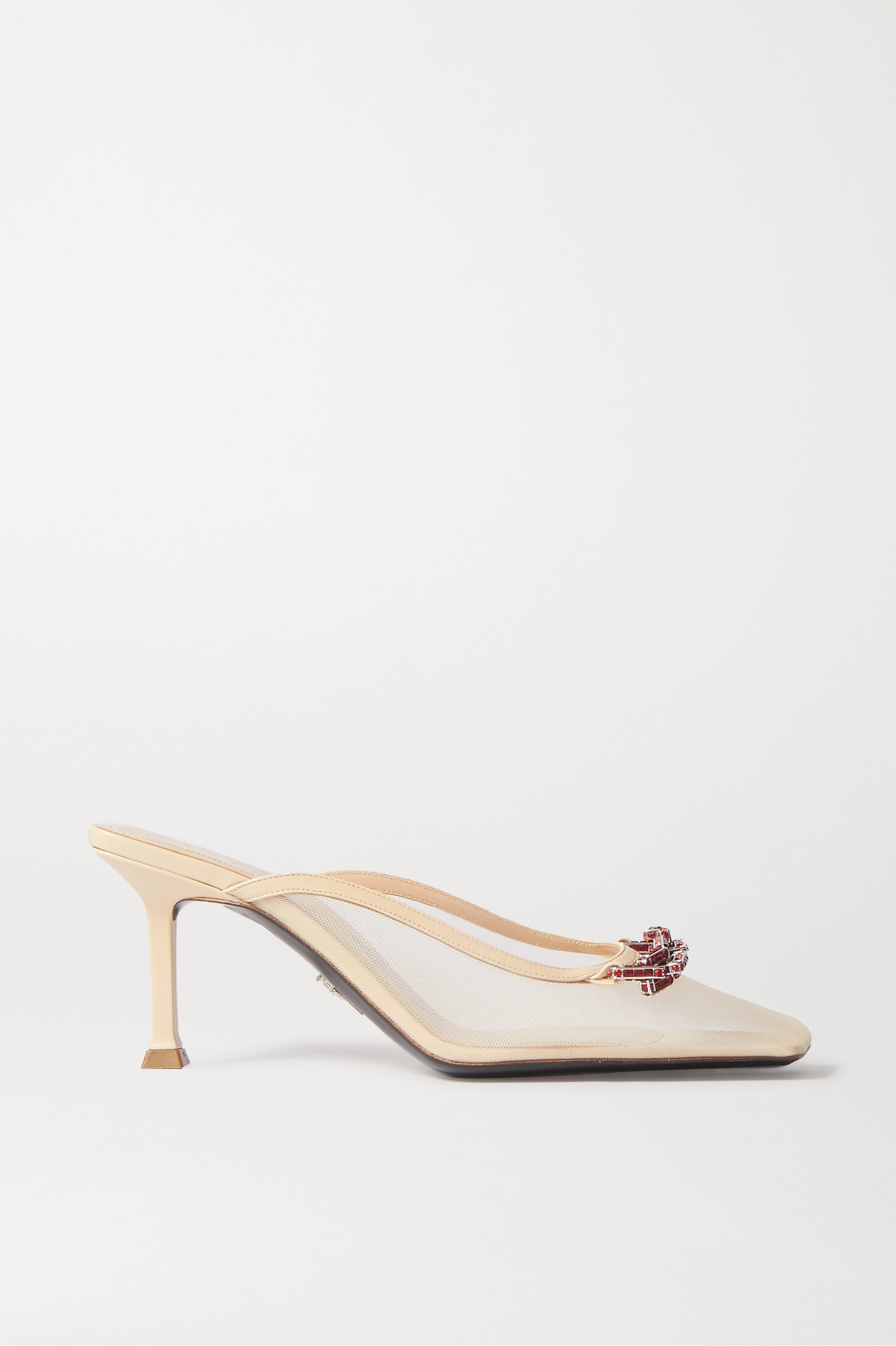 Paciotti Crystal-embellished mesh and leather mules