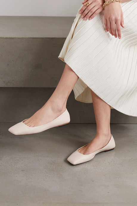 Square-toe leather ballet flats