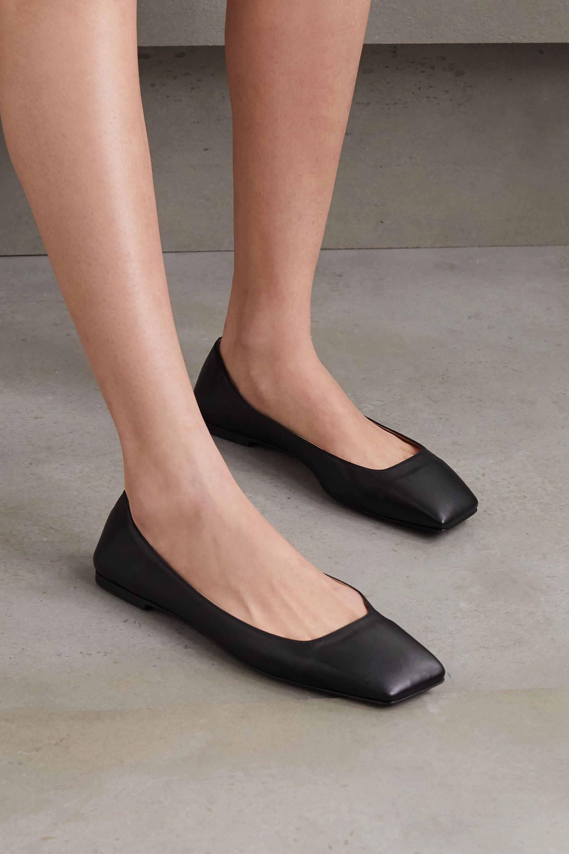 Black Square-toe leather ballet flats