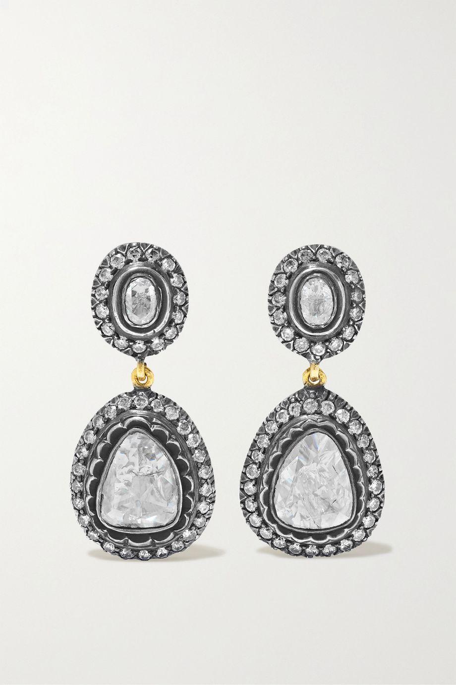 Amrapali Sterling silver-plated 14-karat gold diamond earrings