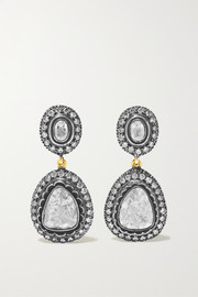 Sterling silver-plated 14-karat gold diamond earrings