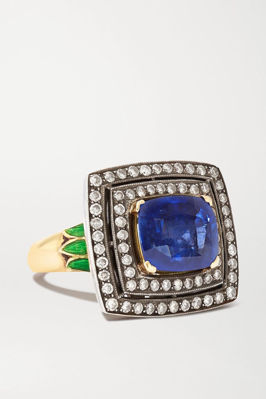 Amrapali Ring aus 18 Karat Gold und Sterlingsilber mit Saphir, Diamanten und Emaille