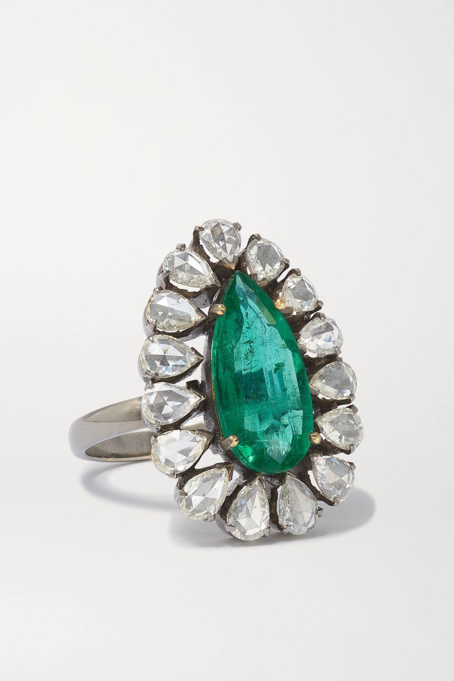 Amrapali Ring aus geschwärztem 18 Karat Gold mit Smaragd und Diamanten
