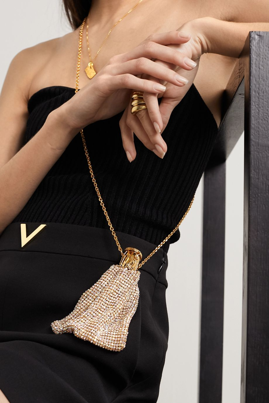 Versace Crystal-embellished gold-tone necklace