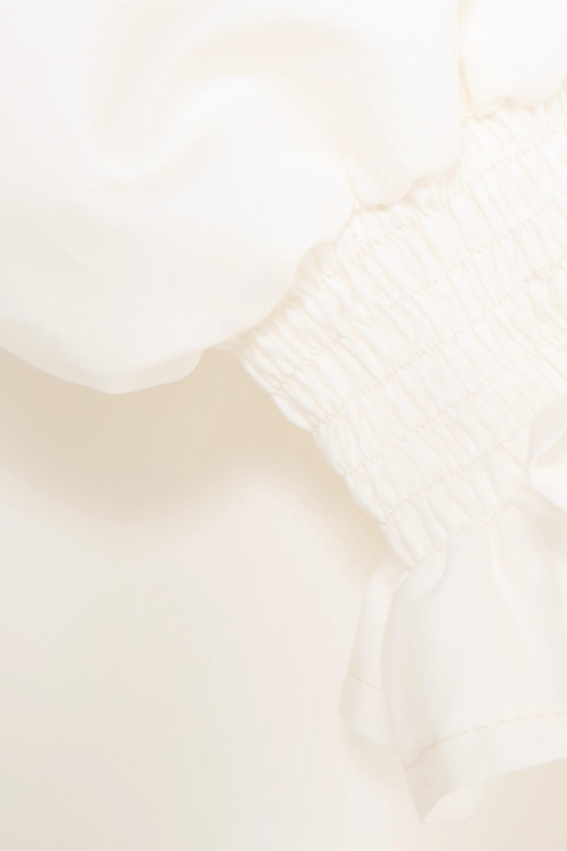 AVAVAV Mini-robe en popeline de coton et de soie mélangés à smocks et à volants