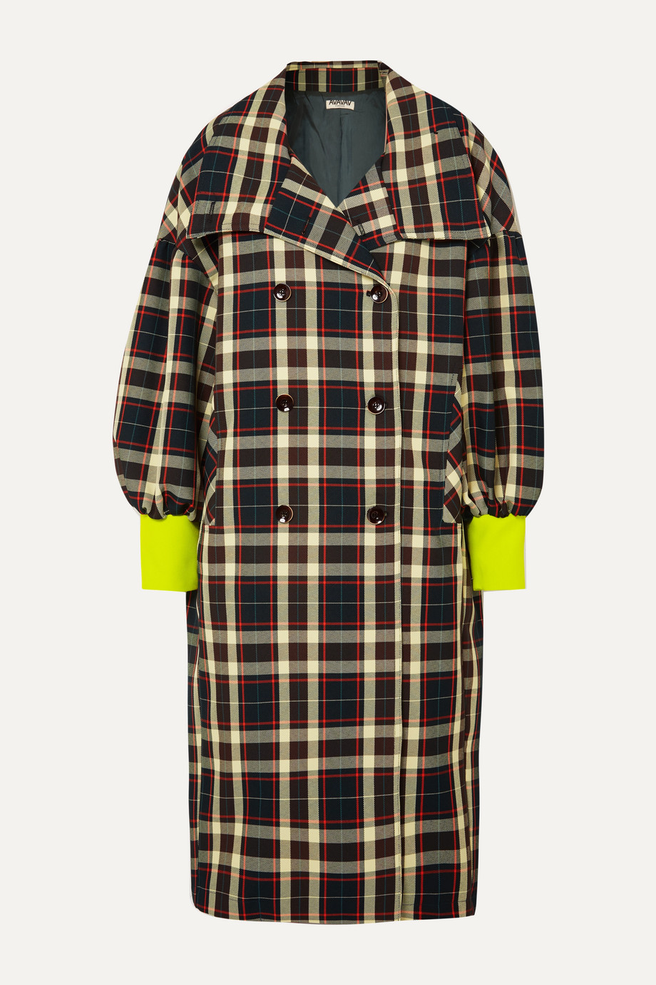 AVAVAV Double-breasted checked gabardine coat