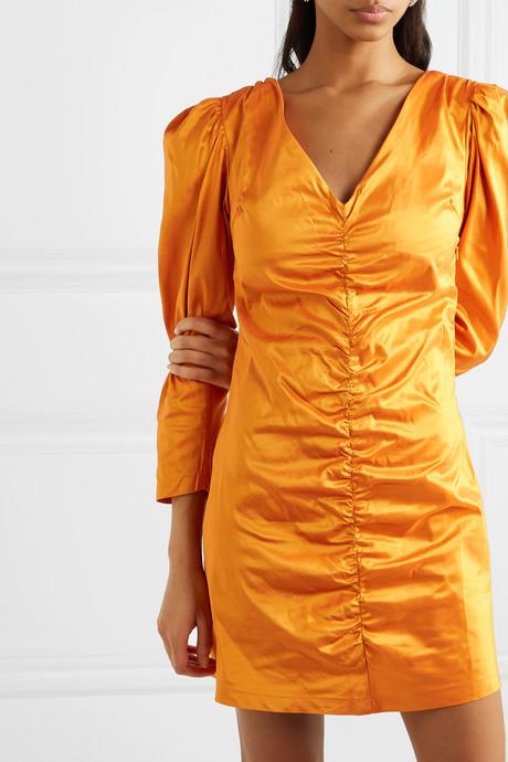 Ruched silk-charmeuse mini dress