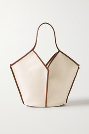 HEREU + NET SUSTAIN Calella leather-trimmed organic cotton-canvas tote