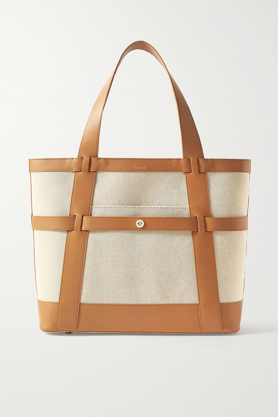 Paravel Atlantic leather-trimmed cotton-canvas tote