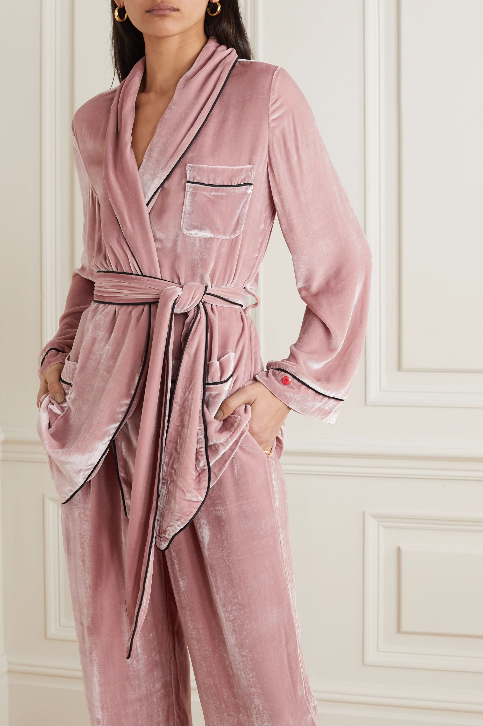 Sleeping with Jacques The Bon Vivant belted piped velvet robe