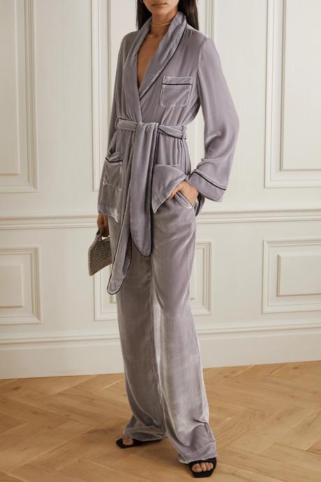 Piped velvet pajama pants