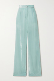Sleeping with Jacques Piped crushed-velvet pajama pants